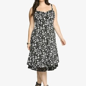Torrid Black Pinup Skull Lace Trim Swing Dress 18